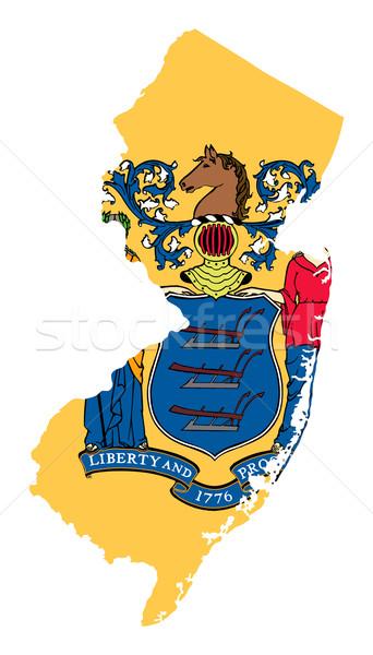 New Jersey bayrak harita yalıtılmış beyaz ABD Stok fotoğraf © speedfighter
