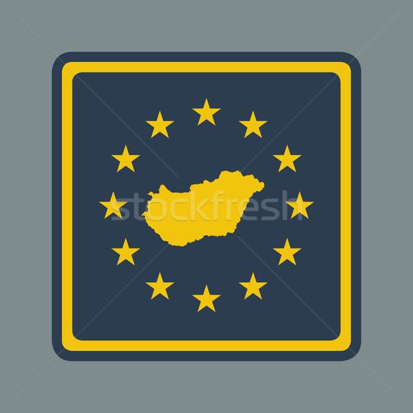 Magyarország európai zászló gomb reszponzív web design Stock fotó © speedfighter