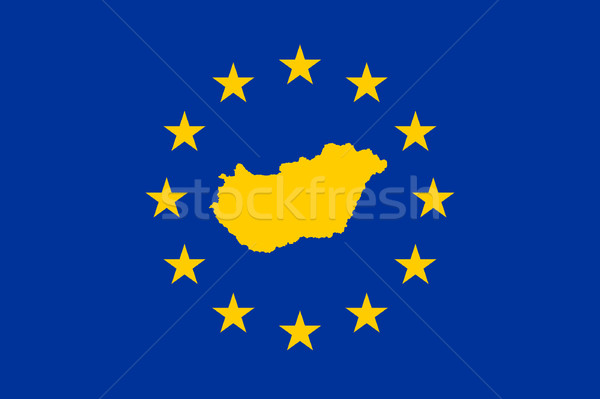 Hungría europeo bandera mapa Unión amarillo Foto stock © speedfighter