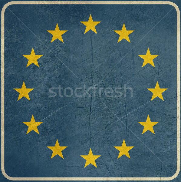 Grunge European Union road sign Stock photo © speedfighter