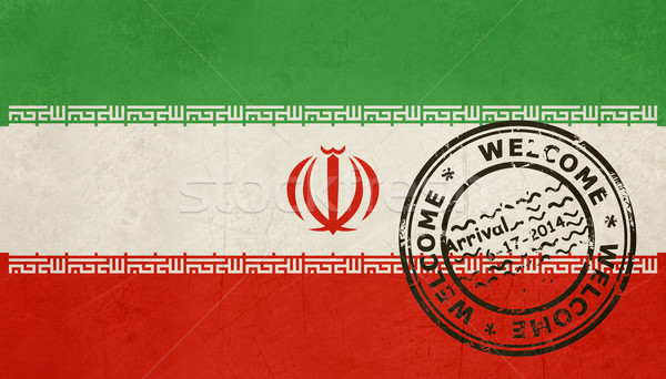 Welcome to Iran flag with passport stamp Stock photo © speedfighter