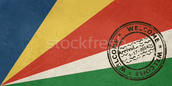 Welcome to Seychelles flag with passport stamp Stock photo © speedfighter