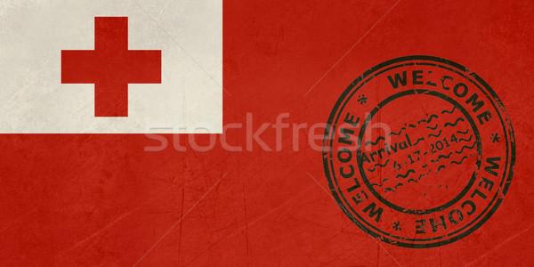 Bem-vindo Tonga bandeira passaporte carimbo viajar Foto stock © speedfighter