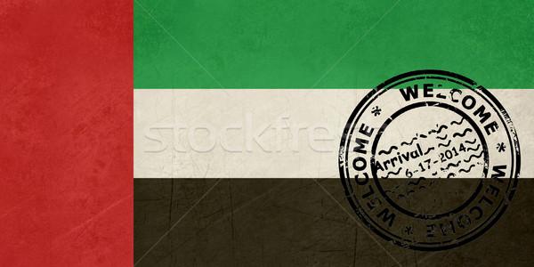 Bem-vindo Emirados Árabes Unidos bandeira passaporte carimbo viajar Foto stock © speedfighter