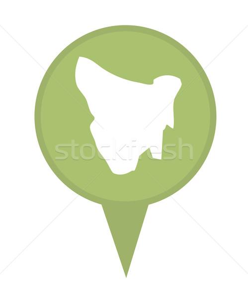Tasmânia mapa marcador pin isolado branco Foto stock © speedfighter
