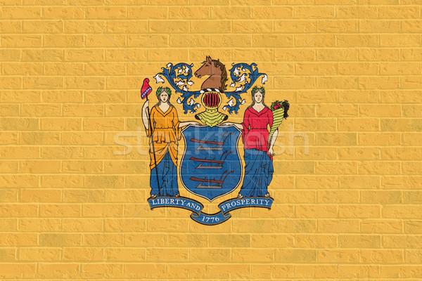 New Jersey bayrak tuğla duvar örnek Amerika Birleşik Devletleri Amerika Stok fotoğraf © speedfighter