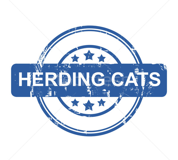 Herding Cats business concept stamp Stock photo © speedfighter