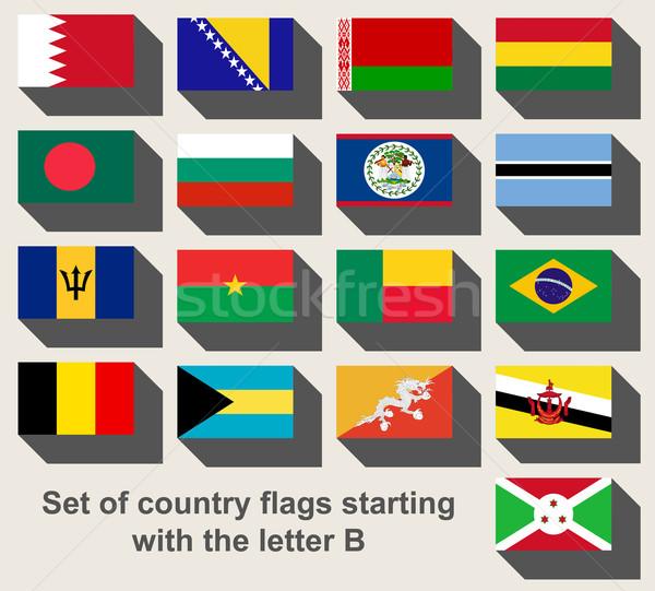 Szett vidék zászlók bámul levél térkép Stock fotó © speedfighter