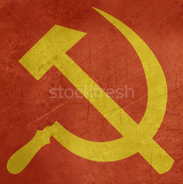 Grunge hamer russisch communist teken vlag Stockfoto © speedfighter