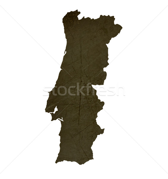 Dark silhouetted map of Portugal Stock photo © speedfighter