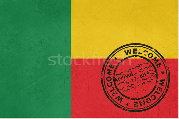 Welcome to Benin flag with passport stamp Stock photo © speedfighter