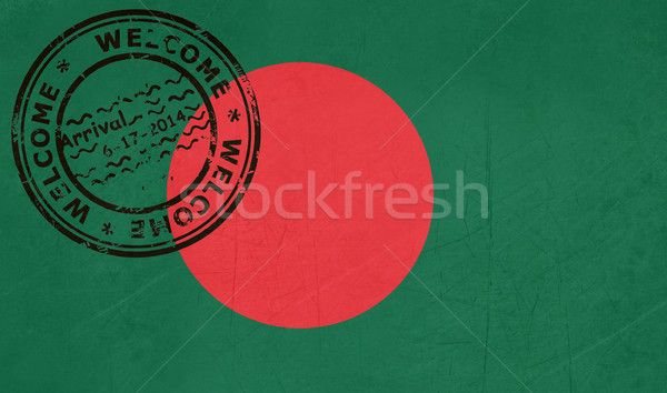 Bienvenida Bangladesh bandera pasaporte sello viaje Foto stock © speedfighter