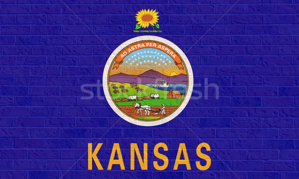 Kansas state flag on brick wall Stock photo © speedfighter