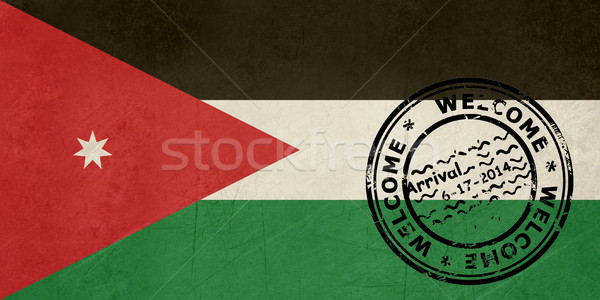 Welcome to Jordan flag with passport stamp Stock photo © speedfighter