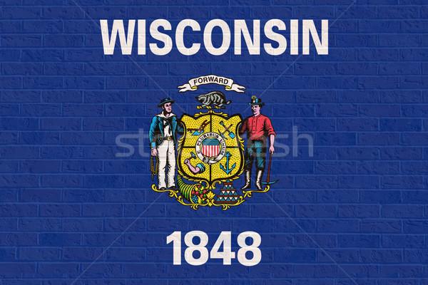Висконсин флаг кирпичная стена Америки изолированный белый Сток-фото © speedfighter