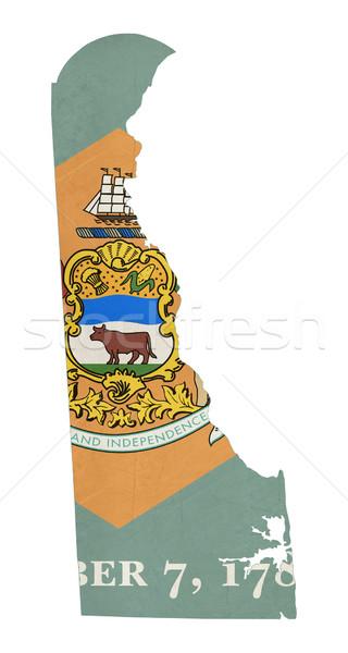 Grunge Delaware bandera mapa aislado blanco Foto stock © speedfighter