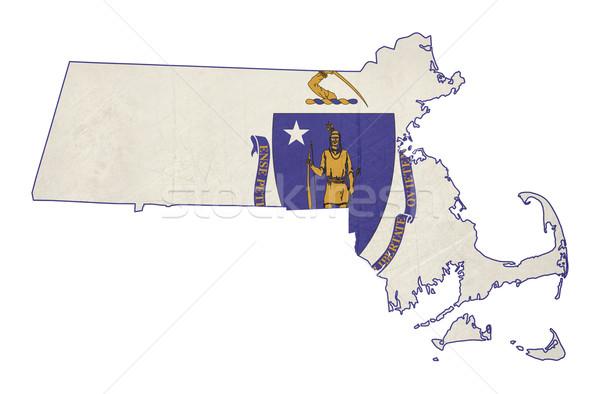 Grunge state of Massachusetts flag map Stock photo © speedfighter