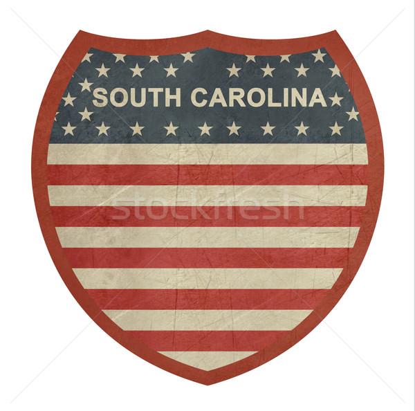 Grunge South Carolina americano interestadual sinal da estrada isolado Foto stock © speedfighter