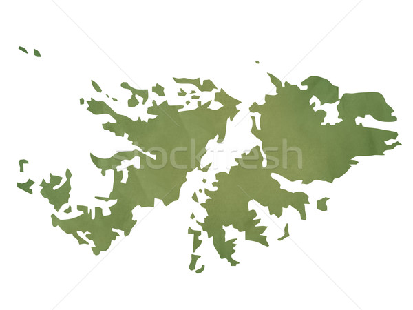 Old green paper map of Falkland Islands Stock photo © speedfighter
