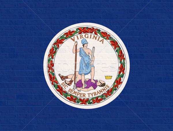Виргиния флаг кирпичная стена Америки изолированный белый Сток-фото © speedfighter