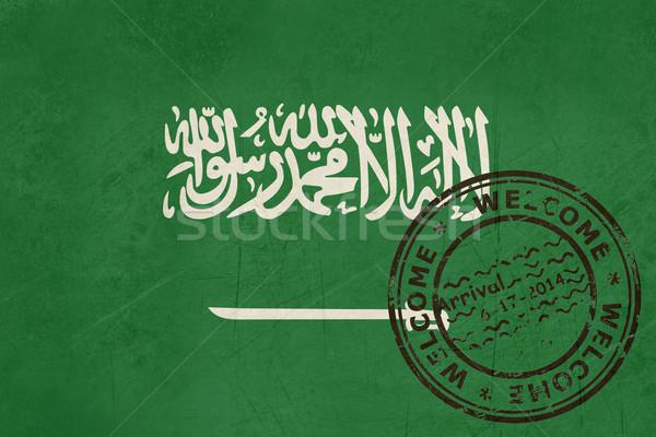 Karşılama Suudi Arabistan bayrak pasaport damga seyahat Stok fotoğraf © speedfighter