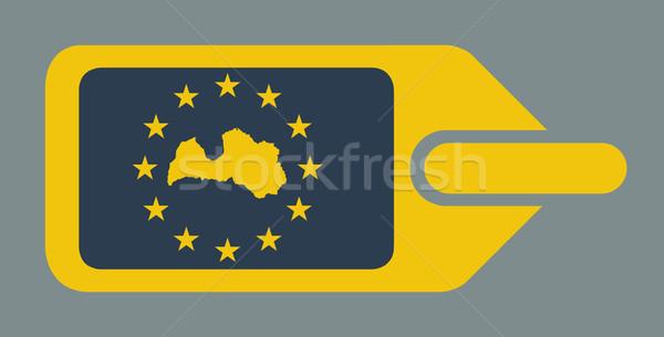 Stockfoto: Letland · europese · bagage · label · reizen · tag
