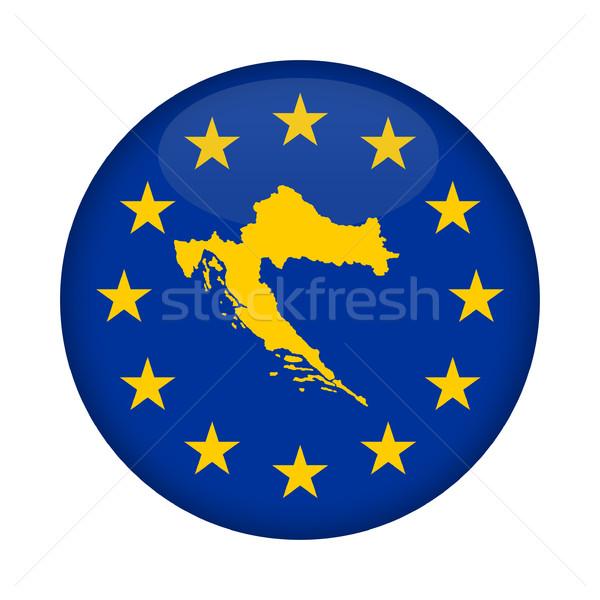 Croatie carte européenne Union pavillon bouton Photo stock © speedfighter