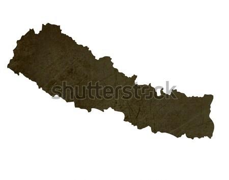 Sötét térkép Nepál mintázott izolált fehér Stock fotó © speedfighter