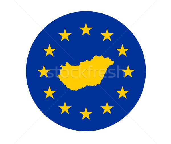 Stock fotó: Magyarország · európai · zászló · térkép · szövetség · citromsárga