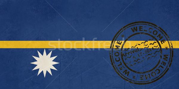 Welkom Nauru vlag paspoort stempel reizen Stockfoto © speedfighter