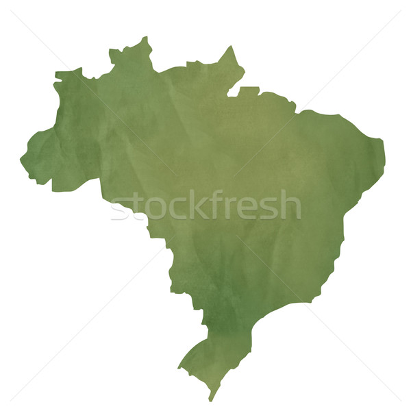 Old green paper map of Brazil Stock photo © speedfighter