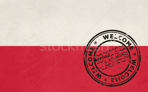 Welcome to Poland flag with passport stamp Stock photo © speedfighter