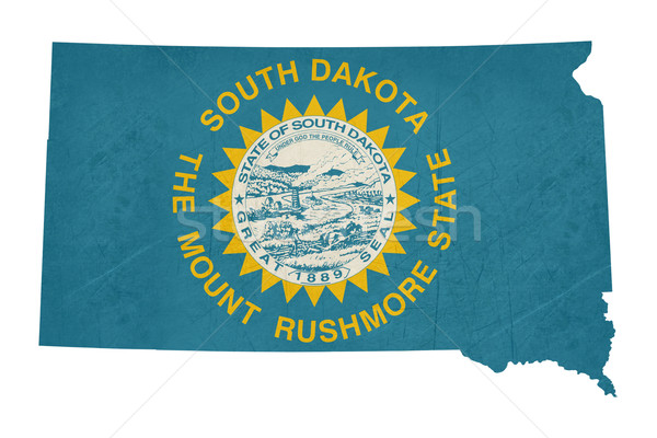 Grunge South Dakota bandeira mapa isolado branco Foto stock © speedfighter