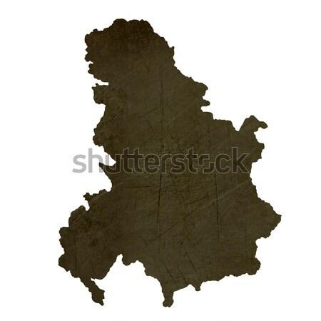 Sırbistan Karadağ harita yeşil kâğıt eski Stok fotoğraf © speedfighter
