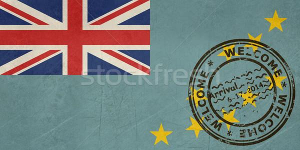 Bem-vindo Tuvalu bandeira passaporte carimbo viajar Foto stock © speedfighter