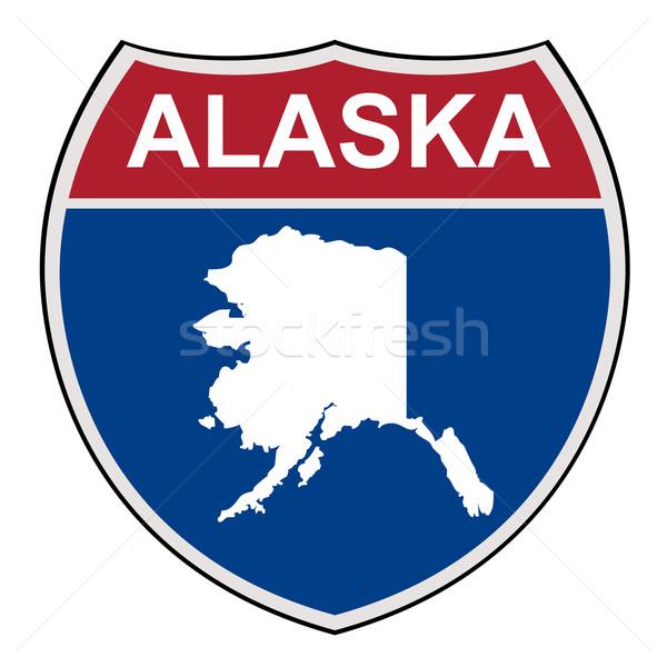 Alaska interstate autoroute bouclier carte Photo stock © speedfighter