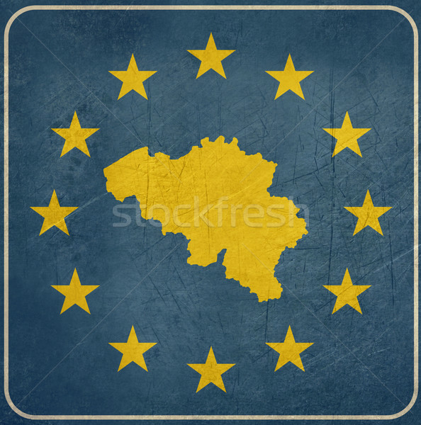 Grunge Bélgica europeo botón mapa azul Foto stock © speedfighter