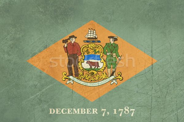 Grunge Delaware vlag amerika geïsoleerd witte Stockfoto © speedfighter