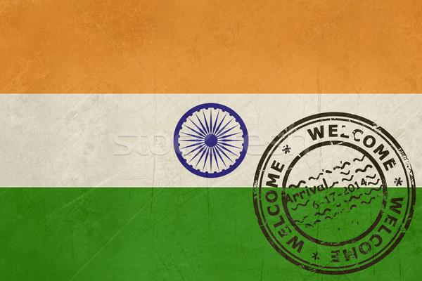 Bem-vindo Índia bandeira passaporte carimbo viajar Foto stock © speedfighter