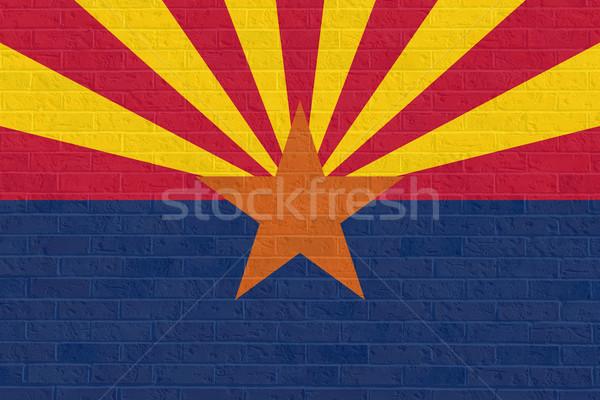 Arizona State flag on brick wall Stock photo © speedfighter