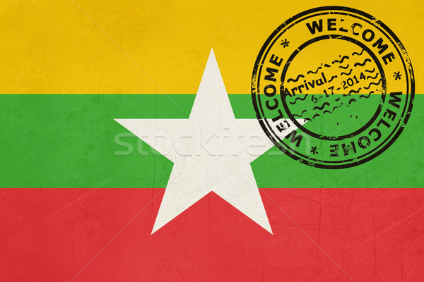 Stock Photo Welcome To Myanmar Flag With Passport Stamp