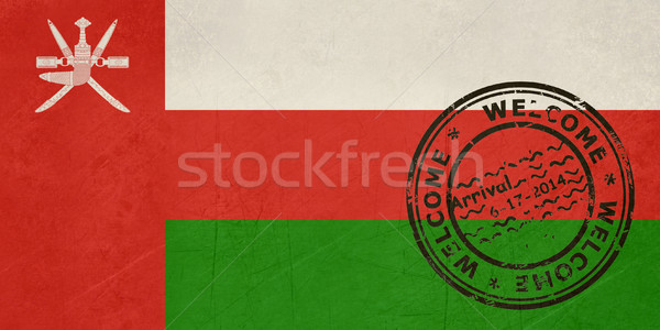 Welcome to Oman flag with passport stamp Stock photo © speedfighter
