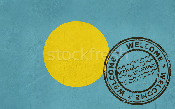 Welcome to Palau flag with passport stamp Stock photo © speedfighter