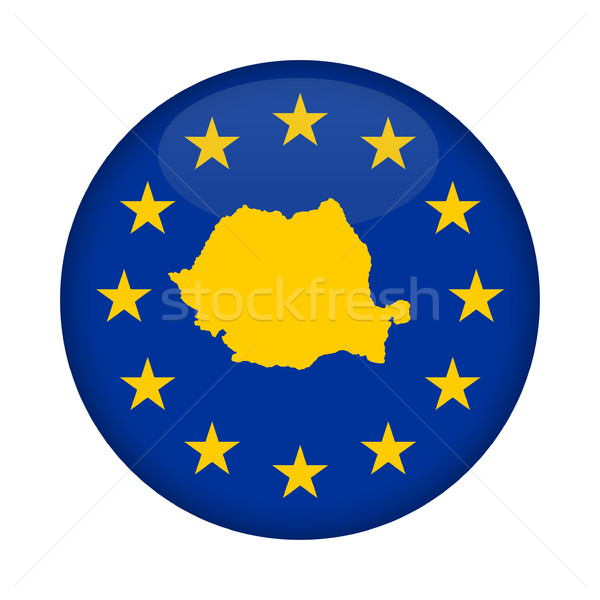 Rumania mapa europeo Unión bandera botón Foto stock © speedfighter