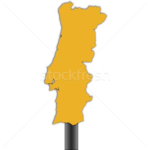 Photo stock: Portugal · carte · panneau · routier · isolé · blanche · route
