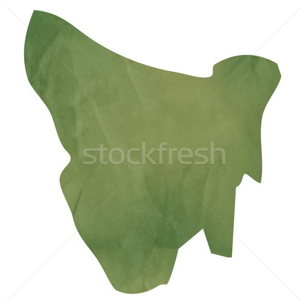 Tasmanië kaart groene papier oude geïsoleerd Stockfoto © speedfighter