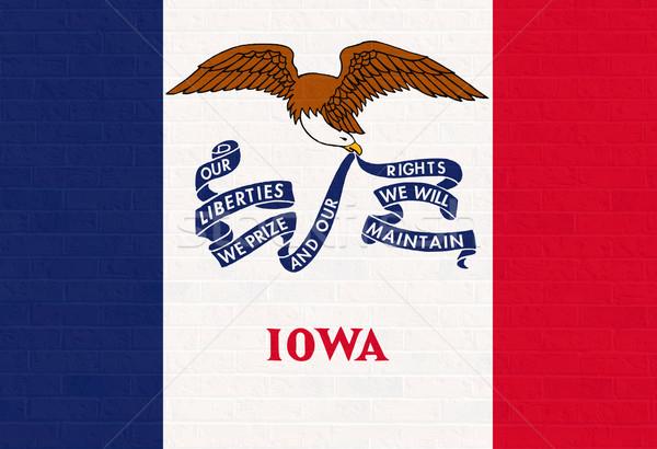 Iowa zászló téglafal Amerika izolált fehér Stock fotó © speedfighter