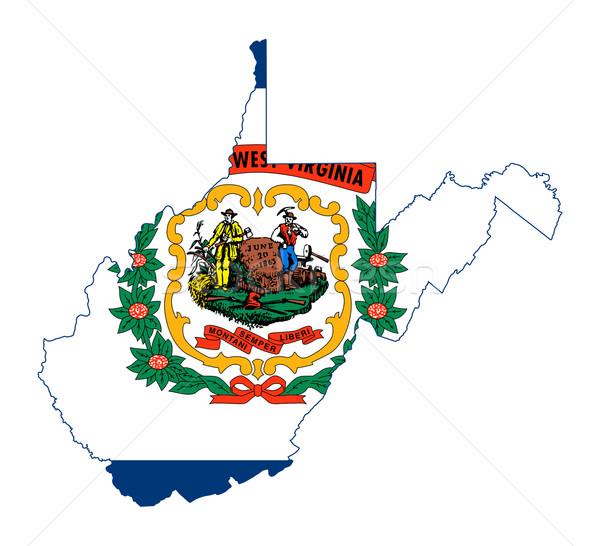 Photo stock: Virginie-Occidentale · pavillon · carte · isolé · blanche · USA