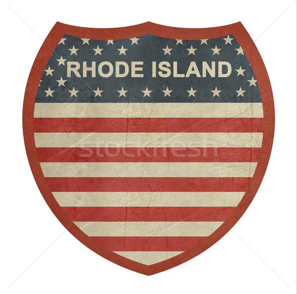 Grunge Rhode Island amerikan eyaletler arası otoyol işareti yalıtılmış Stok fotoğraf © speedfighter