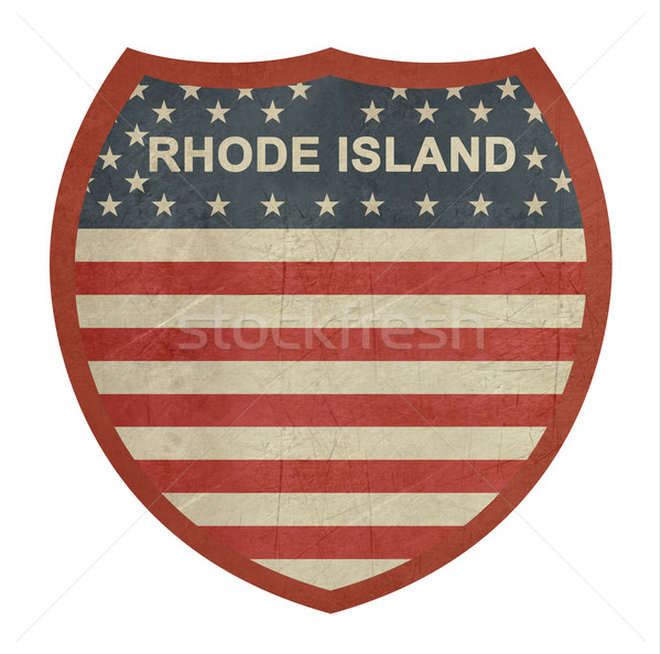 Grunge Rhode Island americano interestadual sinal da estrada isolado Foto stock © speedfighter